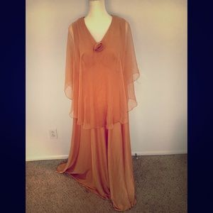 Vintage 70s rose gold floor length dress